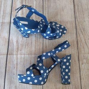 Cooperative Blue & White Platform Chunky Heel 8.5